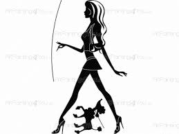 wall stickers pretty girl puppy vds1049en artpainting4you eu pretty girl puppy silhouettes wall decals