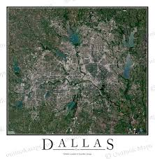 Satellite View Map Dallas Tx Satellite Map Print Aerial Image Poster