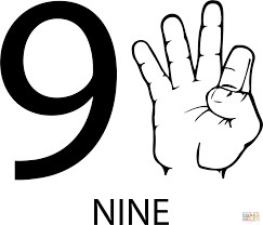 asl number nine coloring page free printable coloring pages