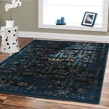 Cheap Rug Sets Amazon Com Premium Luxury Rugs Modern Floral Carpet Navy 5x8 Rugs