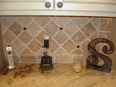 Tumbled Marble Kitchen Backsplash by Tumbled Marble Backsplash With Multi Colored Glass Accent Strip