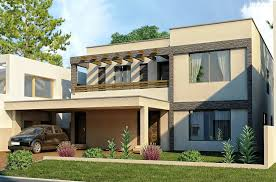 modern house flat roof green lawn spacious car port aprar