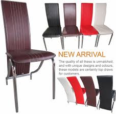 Faux Leather Dinning Chairs Designer High Back Faux Leather Dining Chair With Chrome Legs