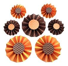 7 rosettes halloween orange brown hanging party decorations