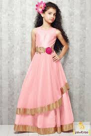 new style baby kids georgette light pink party wear dress is