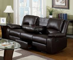 Reclining Sofa With Center Console Furniture Of America Cm6555 S Btd Rustic Brown Leatherette