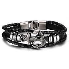 bracelet cuir homme images Bracelet cuir noir ancre de marine m tal homme charms petit prix jpg