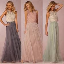 cheap gowns 2017 vintage two pieces crop top bridesmaid dresses tulle ruched