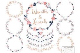 vector floral wreath u0026 laurels in navy u0026 blush by amanda ilkov