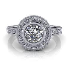 bezel engagement ring bezel set halo engagement ring 50ct