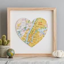 wedding gift photo frame personalised map location heart wedding print gift by bombus