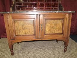 lot detail antique sideboard with marble top u0026 tile back splash