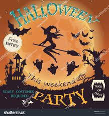 halloween party invitation witch ghost bat stock vector 493544737