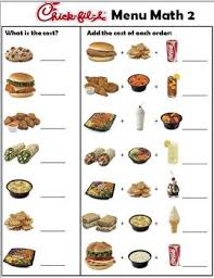 chickfila menu money math worksheets by empowered by them tpt