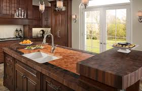decor butcher block counters with tile backsplash and sink for