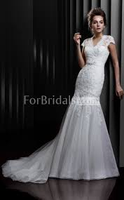 v neck sweep train short sleeve zipper lace tulle mermaid wedding