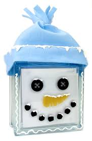 nicole crafts snowman face glass block christmas glassblock
