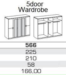 5 Door Wardrobe Bedroom Furniture Germanica Bavari Bedroom Furniture 5 Door Wardrobe In Mirrored