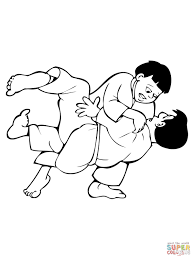kids judo fight coloring page free printable coloring pages