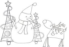 reindeer and snowman coloring pages winter coloring pages of