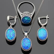 opal stone silver necklace images Blue opal stones silver color jewelry sets jpg