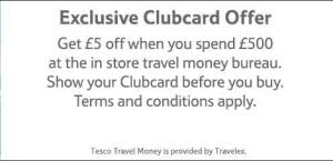 tesco bureau de change exchange rate 5 when you spend 500 on travel tesco exclusive