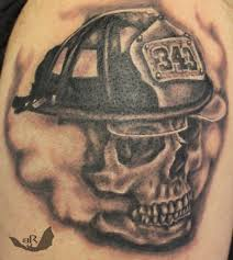 amazing skull tattoos amazing grey ink firefighter skull tattoo on shoulder jpg 917