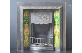 original edwardian ivy leaf tiled insert with original art nouveau