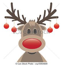 vector clipart of rudolph reindeer red nose christmas balls