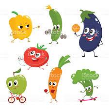 set of funny cartoon vegetables doing sport stock vector art