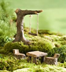 miniature fairy garden swing and picnic set miniature fairy