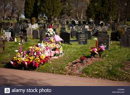 cemetery flowers childs grave covered in fresh flowers cemetery stock photo
