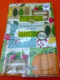 vinyl tablecloth autumn thanksgiving words flannel backing 52 x 52