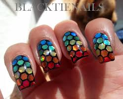 black tie nails rainbow glitter placement nail art
