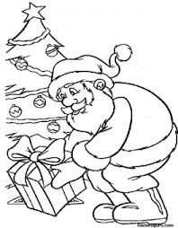 santa presents christmas tree coloring pages