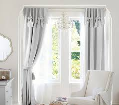 Blackout Curtains For Baby Nursery Evelyn Linen Blend Bow Valance Blackout Panel Pottery Barn Kids