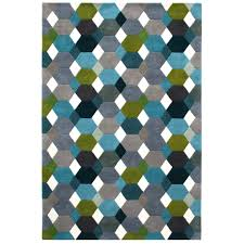 Modern Patterned Rugs by Linie Designs Grease Petrol Rug Patterned Rugs Rugs Living