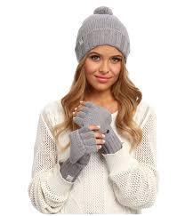 ugg womens gloves sale uggs for nyla hat and fingerless flip mitt glove set grey