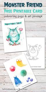 friendly monster free printable card colouring page u0026 drawing