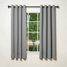 Light Gray Curtains by Basic Thermal Insulated Beige Blackout Grommet Top 2 Panels 52
