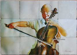 custom tile and murals tumbled marble art tile cellist
