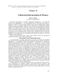 a behavioral interpretation of memory pdf download available