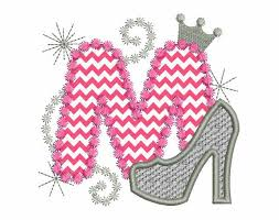pink silver letter m high heel shoe for cute girls applique