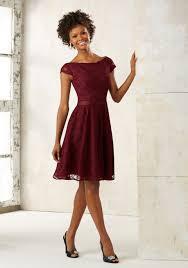 purple lace bridesmaid dress knee length lace bridesmaids dress style 21518 morilee
