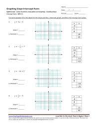slope intercept form worksheets 8th grade worksheets