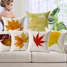 online get cheap autumn decorative pillows aliexpress com decoration sofa pillow autumn red and yellow maple leaves of ginkgo biloba throw pillows for so