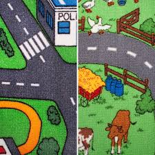 Kids Race Track Rug by Road Map Carpet 4m Wide Childrens Play Room Flooring Kids