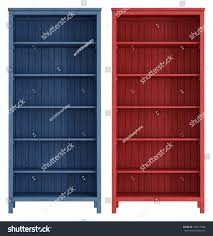 red blue old wooden bookcase isolated stock illustration 125511068