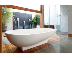 Treatment For Laminate Flooring Cozy And Serene Bathroom Design Featuring Oval White Free Standing