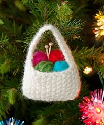 Free Crochet Patterns For Christmas Tree Ornaments Yarn Basket Ornament Knitting Pattern I Am Not A Knitter But